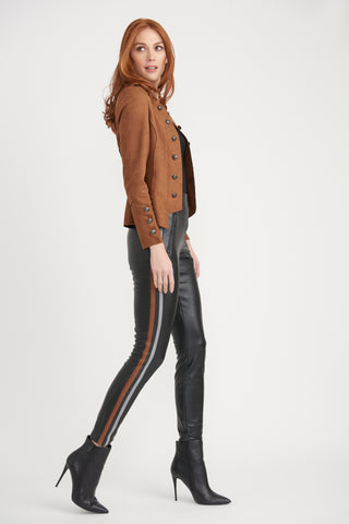 Joseph Ribkoff Faux Leather Fleece Lined Legging - Black/Brown
