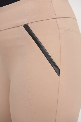 Joseph Ribkoff Vegan Leather Trim Detail Pull On Pant - Beige/Black