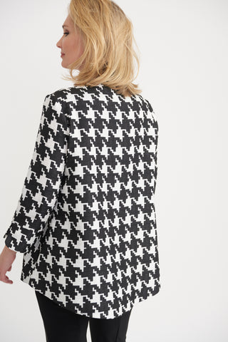 Joseph Ribkoff One-Button Swing Jacket - Black/White Houndstooth