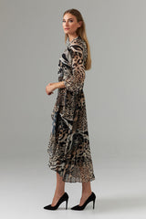 Joseph Ribkoff Animal Print Midi Wrap Dress - Multicolor