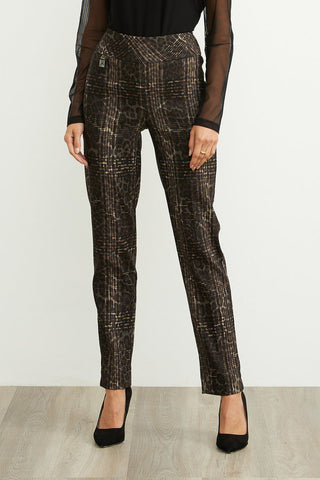 Joseph Ribkoff Stretch Twill Leopard Plaid Pant - Brown/Black
