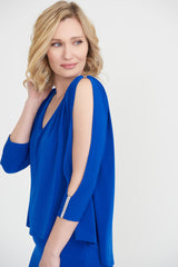 Joseph Ribkoff Rhinestone Trim Split Sleeve Dress - Royal Blue