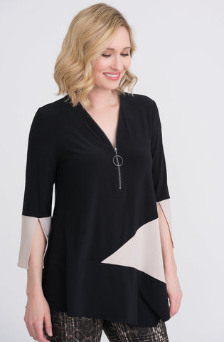 Joseph Ribkoff Bell Sleeve Color Block Zipper Tunic - Black/Sand
