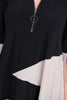 Image of Joseph Ribkoff Bell Sleeve Color Block Zipper Tunic - Black/Sand