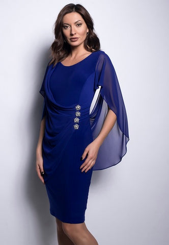 Frank Lyman Rhinestone Cape Dress - Imperial Blue