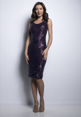 Frank Lyman Detachable Overlay Sequin Dress - Purple