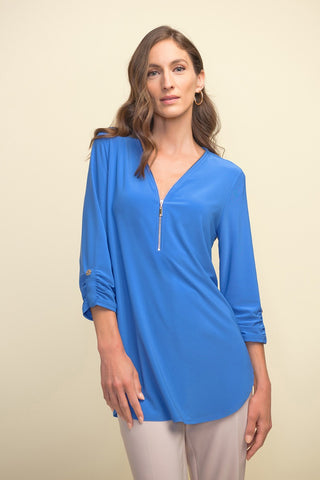 Joseph Ribkoff Zippered V-Neck Swing Top - Aegean Sea