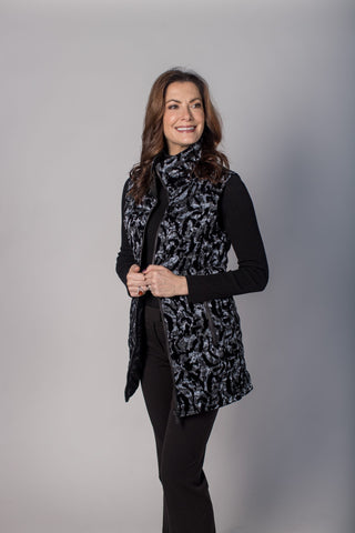 UbU Quilted Reversible Leopard Print Vest - Grey/Black - Sugg. $250.00