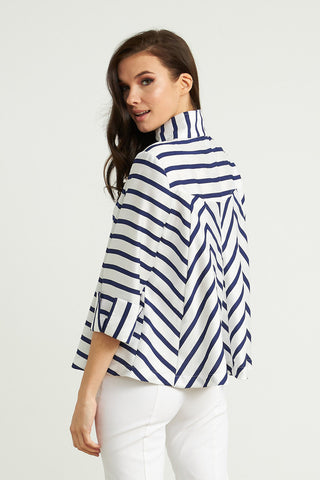 Joseph Ribkoff Zip Front Stripe Jacket - White/Navy