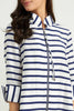 Image of Joseph Ribkoff Zip Front Stripe Jacket - White/Navy