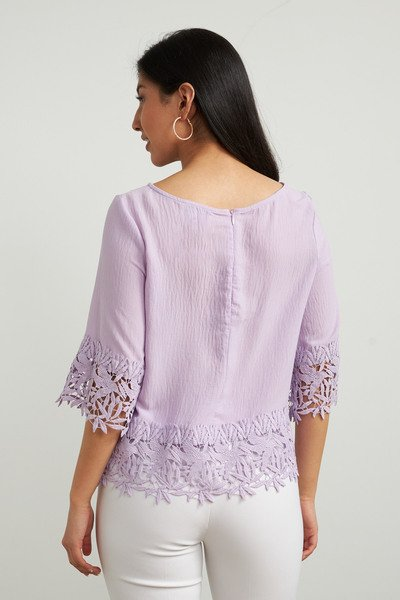 Joseph Ribkoff Crochet Trim Top - Sweet Lilac