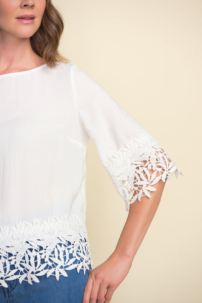 Joseph Ribkoff Crochet Trim Top - White