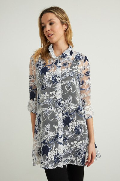 Joseph Ribkoff Sheer Floral Embroidery Jacket - White/Navy