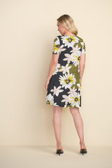 Joseph Ribkoff Daisy Print Short Sleeve Dress with Pockets - Yellow/Multicolor
