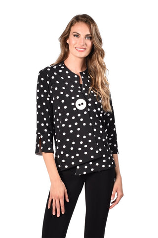 Frank Lyman Polka Dot One Button Jacket - Black/White