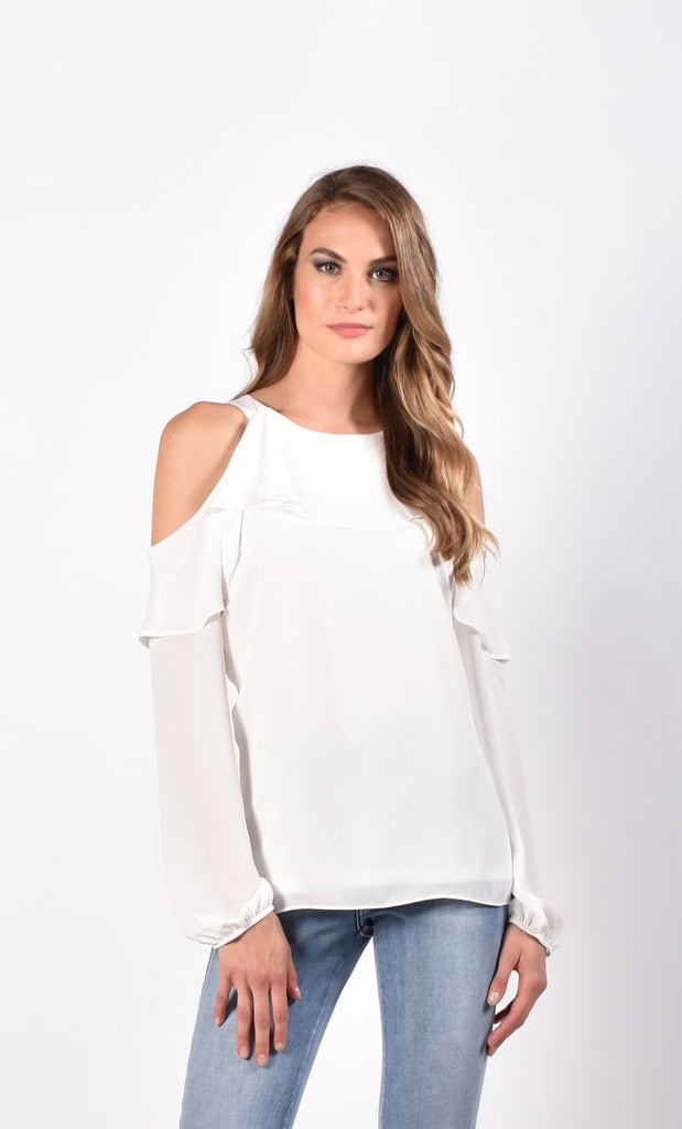 Frank Lyman Open Shoulder Long Sleeve Ruffle Top - Offwhite