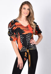 Frank Lyman Mixed Print Bunched Sleeve Top - Multicolor