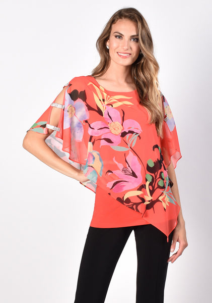 Frank Lyman Rhinestone Ladder Sleeve Floral Blouse - Orange/Multicolor