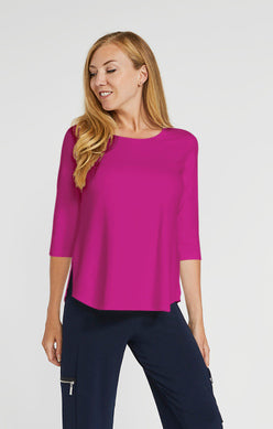 Sympli Go To Classic Tee 3/4 Sleeve - Flamingo