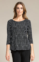 Sympli Go To Classic T Relax 3/4 Sleeve - Painted Lines Black