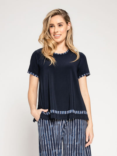 Sympli Outline Boxy T - Painted Lines Navy