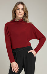 Sympli Funnel Neck Dolman T - Brick