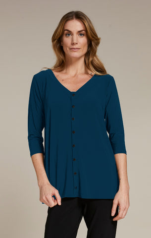Sympli Icon Reversible 3/4 Sleeve Top - Denim