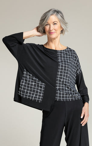 Sympli Etch Top - Black/Small Crosshatch