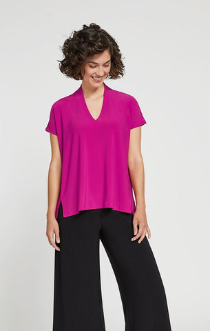 Sympli Deep V Short Sleeve Top - Flamingo