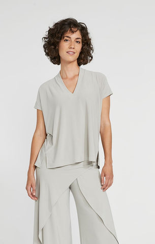Sympli Deep V Short Sleeve Top - Sand