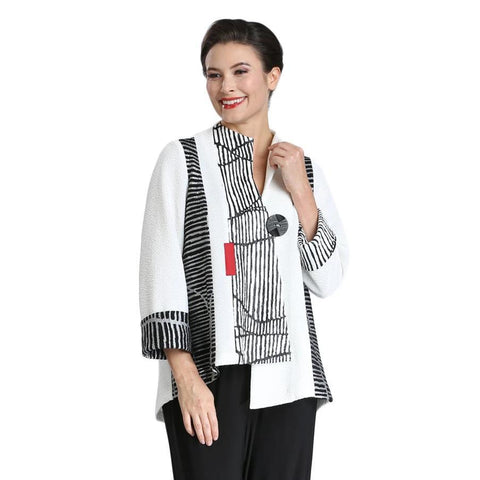 IC Collection Asymmetrical Hem Crinkle Fabric One-Button Jacket - White/Multi