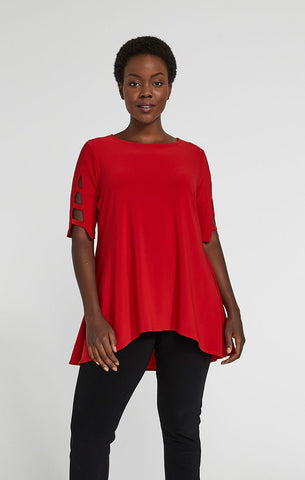 Sympli Capture Elbow Sleeve Tunic - Poppy