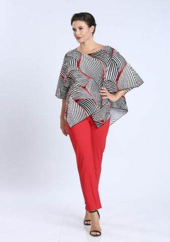 IC Collection Crinkle Fabric Scoop Neck Assymetrical Poncho Top - Red/Black Multi
