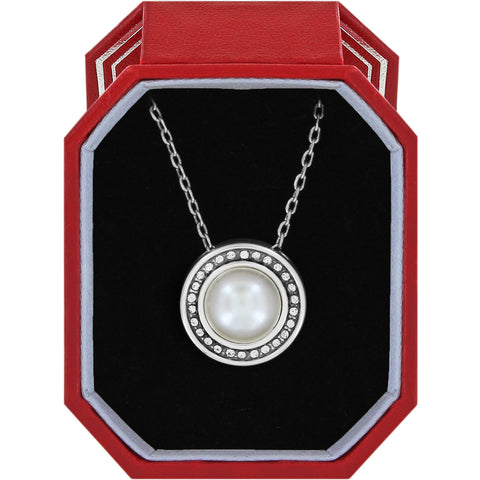Brighton Ellipse Pearl Short Necklace Gift Box - Silver/Pearl