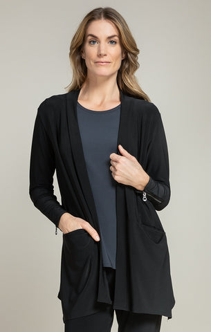 Sympli Zest Zip Back Cardi - Black