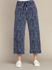 Sympli Wide Leg Trouser Crop - Painted Lines Navy