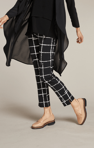 Sympli Narrow Pant Midi - Large Crosshatch
