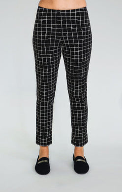 Sympli Narrow Pant Midi - Small Crosshatch