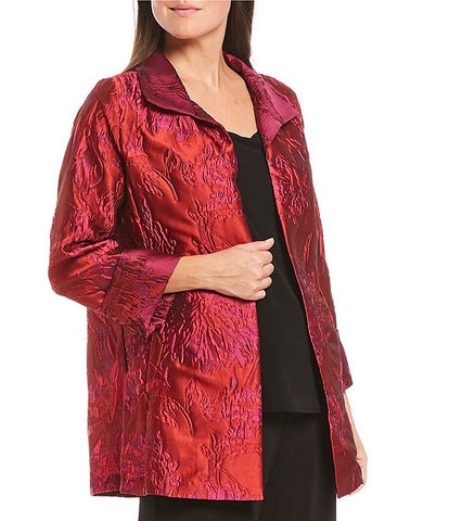 IC Collection 3/4 Sleeve Jacquard Jacket - Red/Pink/Multicolor