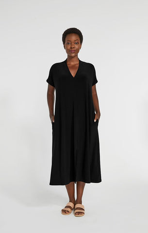 Sympli Deep V Short Sleeve Dress - Black
