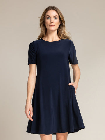 Sympli Trapeze Dress Short Sleeve - Navy