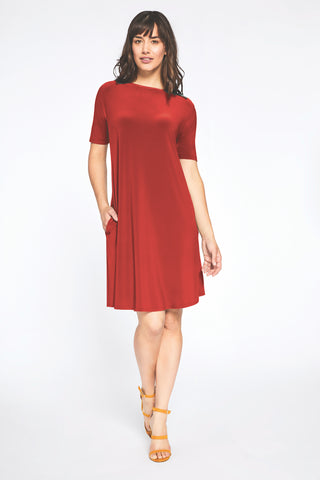 Sympli Trapeze Dress Short Sleeve - Poppy