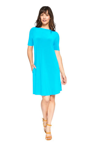 Sympli Trapeze Dress Short Sleeve - Azure