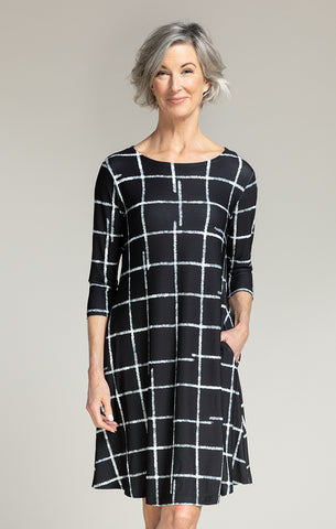 Sympli Trapeze Dress 3/4 Sleeve - Large Crosshatch