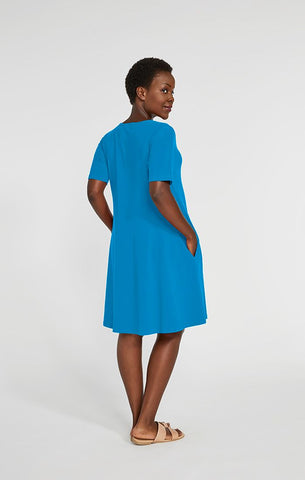 Sympli Trapeze Dress Short Sleeve - Splash