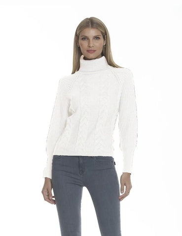 Metric Knits Cable Knit Turtleneck Sweater - Ivory