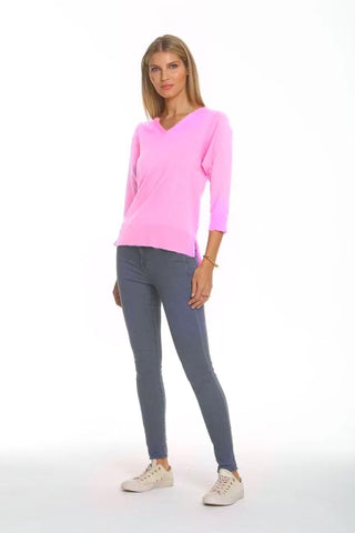 Metric Knits 3/4 Sleeve V-Neck Lightweight Sweater - Cameo Pink