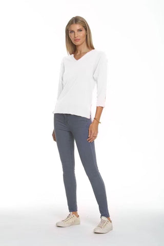 Metric Knits 3/4 Sleeve V-Neck Lightweight Sweater - Ivory