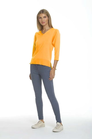 Metric Knits 3/4 Sleeve V-Neck Lightweight Sweater - Sunset Glow