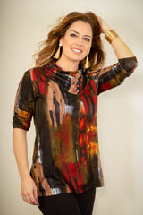 Pure Essence Brushstroke Print Envelope Collar Top - Multicolor